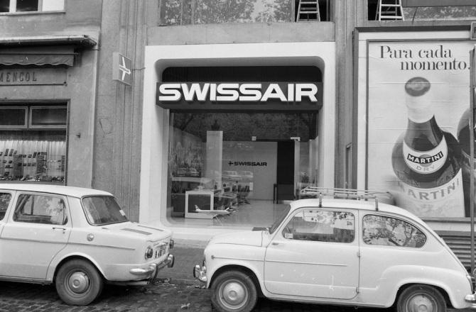 Reisebüro der Swissair in Barcelona