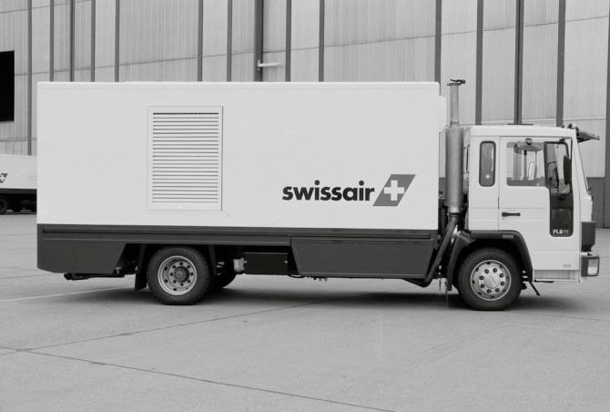 Klimawagen der Swissair am Flughafen Zürich-Kloten