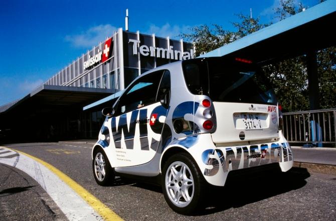 Smart (Automobil) für Swissair-Kunden in Zürich-Kloten